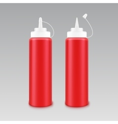 Set of Plastic White Red Tomato Ketchup Bottle vector image vector image