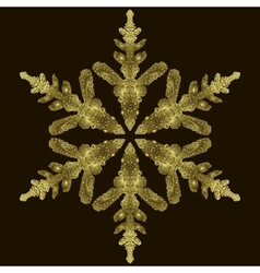 Gold Snowflake On A Dark Background vector image vector image