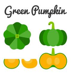 Green pumpkin set 1 vector