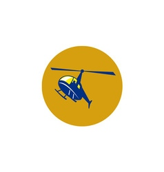 Helicopter chopper flying circle retro vector