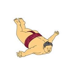 japanese sumo wrestler skydiving drawing vector image