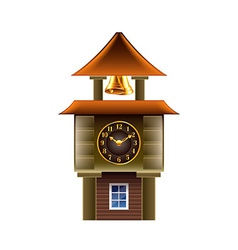 Old clock tower isolated on white vector image
