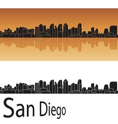 San Diego skyline in orange background vector image vector image