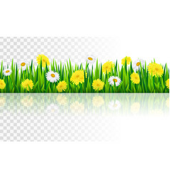 Seamless border with grass and flowers vector image vector image