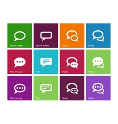 Speech bubble icons on color background vector image