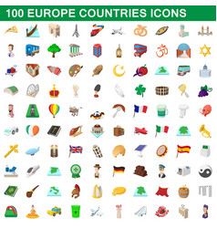 100 europe countries icons set cartoon style vector image vector image