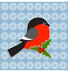 Bullfinch and Holly berry vector image vector image