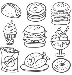 Doodle of drink and food hand draw vector