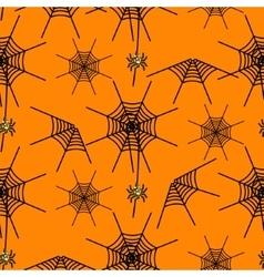 Halloween party spider net orange pattern vector image vector image