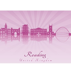 Reading skyline in purple radiant orchid vector image vector image