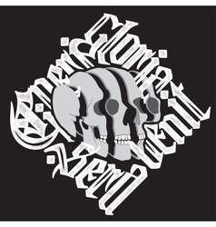 Sliced surreal Skull with gothic lettering vector image vector image