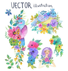 watercolor color flowers leaves and butterfly vector image vector image