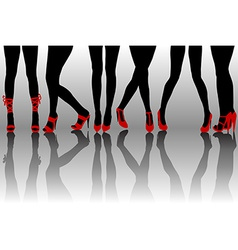 Female legs silhouettes with red shoes vector image vector image