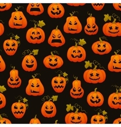 Halloween seamless pattern with pumpkins scary vector image vector image