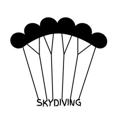 skydiving logo in flat style black extreme sport vector image