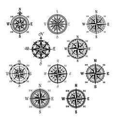 vintage compass and wind rose isolated symbol set vector image vector image