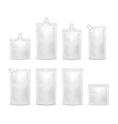 white blank doypack realistic template set vector image