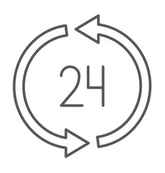 24 hours delivery thin line icon service and vector image