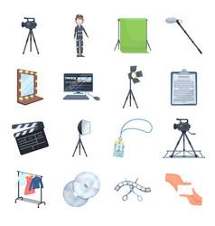 A movie camera a floodlight a chromakey and vector