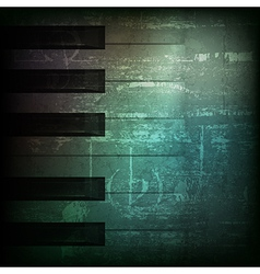 Abstract dark green grunge background with piano vector