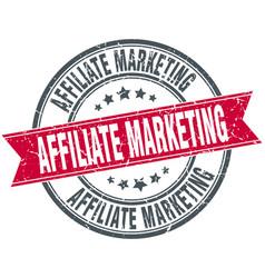 affiliate marketing round grunge ribbon stamp vector image