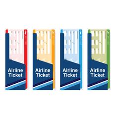 Air ticket boarding travel set in color vector