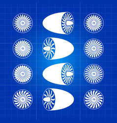 Aircraft white engine turbines on blue background vector