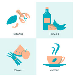 Allergic products icon set in flat style vector