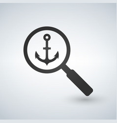 an isolated magnifier icon with anchor vector image
