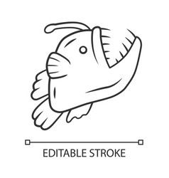 Anglerfish linear icon swimming goosefish ocean vector