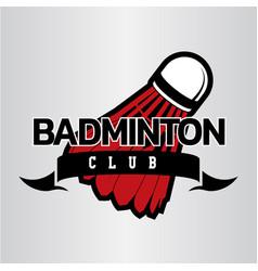 Badminton club minimal logo with shuttelecock vector