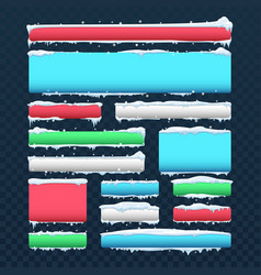 banners and buttons with snow caps and icicles vector image