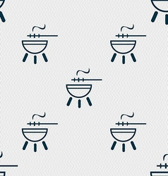 Barbecue icon sign Seamless pattern with geometric vector