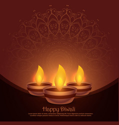 beautiful diwali diya festival background vector image