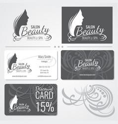 beauty salon business card templates vector image