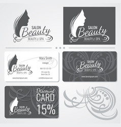 Beauty salon business card templates with vector