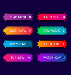 buttons call web action glow neon button vector image