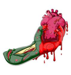 Cartoon zombie hand holding human heart vector