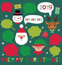 christmas characters and speech bubbles vector image