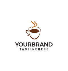 coffee and tea glass logo design concept template vector image