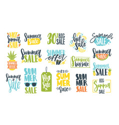 collection summer sale calligraphic lettering vector image