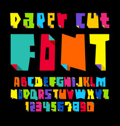 Colored letters cut from paper with bent vector