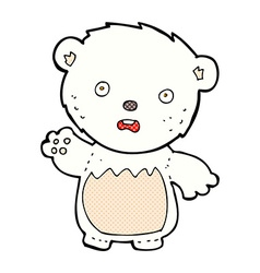 Comic cartoon worried polar bear vector