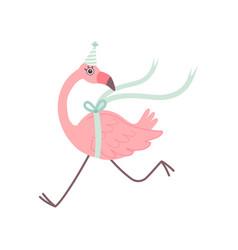 Cute flamingo running wearing party hat beautiful vector