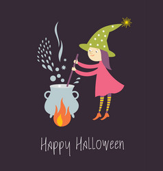 cute young witch brews a potion in pot vector image