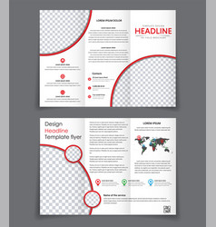 Design of the two un folding brochure with red vector
