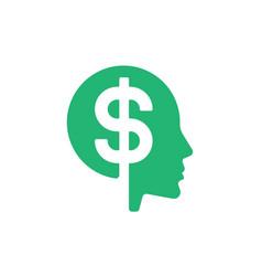 dollar head finance money symbol web icon logo vector image