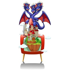 Dragon and castle on TV screen vector