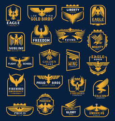 Eagle icons heraldic badges corporate identity vector