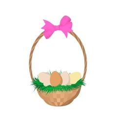 easter eggs in basket cartoon icon vector image